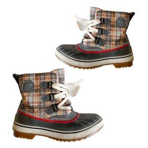 SOREL Plaid Multi Color Low Boots Size 8